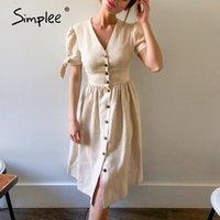 Simplee Sexy V-образным вырезом хлопок женское летнее платье элегантные кнопки слоеного рукава женские твердые сарафан офисные работы дамы MIDI платья 210316
