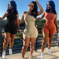 Summer Women Tracksuits Sexy Elastic Pit Strip Two Piece Set Outfits Vest Shorts Sports Suit Solid Color Sportswear