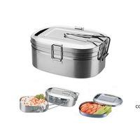 Paslanmaz Çelik Öğle Yemeği Kutusu Metal Bento Kutusu Gıda Konteyner Çift Katmanlı Öğle Yemeği Kutusu Çocuklar Için Okul Ofis Çalışma Kamp DHB10161