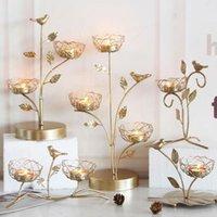 Candle Holders Wrought Iron Golden Bird Home Decor Wedding Decoration Accessories Candlesticks For Candelabro Centerpiece