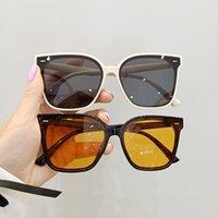 girls Retro tea orange sunglasses fashion woman big frame sun glasseses lady style man anti ultraviolet glasses outdoor goggles S1298