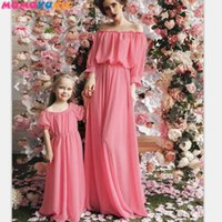 off shoulder chiffon family matching clothes mommy and me family look dress matching family outfits mum mama and daughter dress 210713