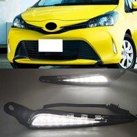 1 Pair For Toyota Vitz 2016 2017 2018 Car LED Daytime Running Light DRL Yellow Turn Signal Light Bumper Lamp Fog Lamp