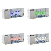 Moderno personalizado Multifuncional LED Reloj de alarma Maquillaje Espejo Batería Plug-in Doble Propósito Cama de cama soltero