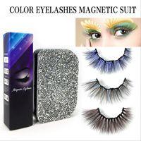 Manyetik Sıvı Eyeliner 3 Pairs Renkli Yanlış Kirpikler Set Su Geçirmez Uzun Ömürlü Kireççiler Kirpik Uzatma Çok Renkler