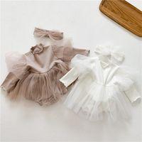 2021 Spring Baby Girls Romper Dress White Tutu New Born Manga Larga 1er Cumpleaños Niño Infantil Con Diadema 2pcs Ropa