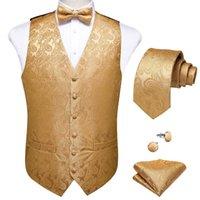 Männer Westen Mode Silk Paisley Anzug Weste Männer Formale Kleid Fliege Krawatte Krawatte Hanky Set Hochzeit Weste Sleeveless Jacke Dibangu
