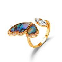 Os novos seashells colorido borboleta anel ins anel temperamento micro pave zircon anel de abertura