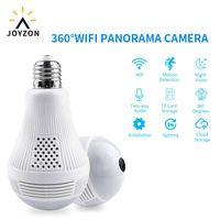 كاميرات Joyzon 360 درجة الصمام الخضوع الليل للرؤية الليلة اللاسلكية الأمن اللاسلكي الأمن المنزلية wifi cctv fisheye لمبة مصباح كاميرا IP