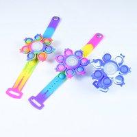 Rainbow Fingertip Gyro Fidget Toys Party Favor Led Luminous Wristband Silicone Rebound Squeeze Push Bubble Bracelet Watch Anti-stress Toy Kids