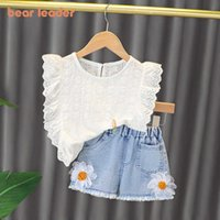 Bear Leader Kids Girls Flowers Summer Clothing Sets Newborn Girl Sleeveless Vest And Denim Shorts Outfits Toddler Baby Clothes Y0909