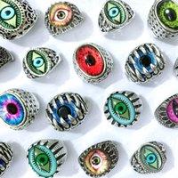 Bulk lots 30pcs Devil's eye rings mix gothic punk evil eyeball retro men gifts jewelry wholesale