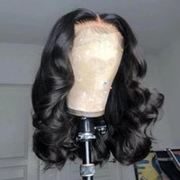 14inch Lace Front Closure Wigs with Babyhair Bleached Knots Pre Plucked Natural Hairline Loose Wave Brazilian Virgin Short Human Hair Wig for Black Women