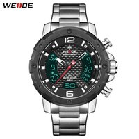 Relojes de pulsera Weide Watch Relogio Masculino Calendario Cronógrafo Alarma Relojes digitales para hombres Reloj de acero inoxidable de cuarzo