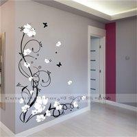 Grote Vlinder Vine Bloem Vinyl Verwijderbare Muurstickers Boom Wall Art Decals Muurschildering voor Woonkamer Slaapkamer Home Decor TX-109 210823