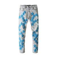 Jeans maschili American Amr Blue Blue a cinque punte Star Patch Lavato Strappato Pantaloni per uomo Techwear Man Pants Y2K Abbigliamento