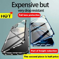 For iPhone 12 Pro MAX Case 360° Full Protection Magnetic Adsorption Metal Glass Phone sleeve.iPhone 13 11 XR X XS 7 8 Plus Mini G0929