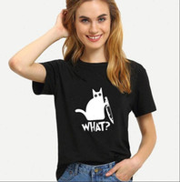 What Cat Brief Druck T-shirt Frauen Kurzarm O Hals Lose T-Shirt 2021 Sommer Frauen T-Shirt Tops Mujer