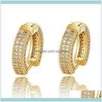 Jewelryluxury Designer 18K Gold Plated Copper Zircon Studs Earrings Men Women Hip Hop Jewelry Iced Out Stud Earings Bling Diamond Earring Dr