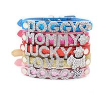 Dog Collars & Leashes Fashion Letter Personalized DIY Name Bling Pet Collar With Rhinestone Buckle Puppy Cat Letters Charms For Teddy
