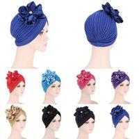 Beanie/Skull Caps Fashion Women Diamonds Flower Turban Cap Soild Color Muslim Headscarf Bonnet Inner Hijabs Arab Head Wraps Hat
