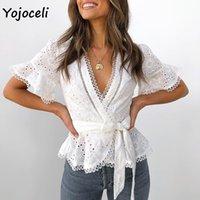 YOJOCELI Pamuk Nakış Dantel Bluzlar Gömlek Kadın Fırfır Yay Blusas Kadın Boho Yeni Bluzlar 210302