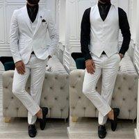 High Quality Mens Wedding Tuxedos Suits 3 Pieces Winter Peaked Lapel Groom Party Blazer Business Wear Coat(Jacket+Vest+Pants)