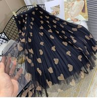 Skirts 2021 Spring And Summer Mesh Long Women's High Waist Love Printed Elegant A-Line Pleated Skirt Fashion