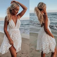 Casual Dresses Summer White Lace Flower Backless Min Dress Sexy Sling Spaghetti Staps Deep V-neck For Women 2021 Elegant Wedding Guest