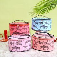 Sacs de cosmétiques Casques Animal Zebra Print Maquillage Sac à glissière Étanche en forme de tonneau de tonneau de toilette Femme de toilette Femme Beauty Cas de voyage Organisateur de voyage