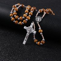 Chains Retro Wooden Rosary Jesus Christ Cross Pendant Necklaces Alloy Bead Long Chain Mens Women Virgin Mary Necklace Gift