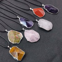 Irregular Natural Crystal Stone Silver Plated Pendant Necklaces With Rope Chain For Women Men Fashion Party Club Decor Energy Jewelry