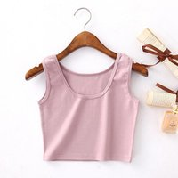 Women's Tanks & Camis Women Short Crop Tops 2021 Fashion Sleeveless U Solid Colors Fitness Tank Female Casual Vest Tube
