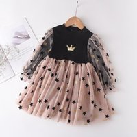 Girl's Dresses Baby Kids Girls Princess Dress Long Puff Sleeve Lace Patchwork Crown Star Print Knee Length Tutu Clothes 2-7Y