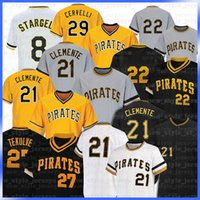 21 Roberto Clemente 27 Kent Tekulve 29 Francisco Cervelli 8 Willie Stargell 6 Starling Marte Collection Maillons Baseball Maillays B1