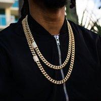 Earrings & Necklace Gold Hip Hop Bracelet Jewelry Set Iced Out Cz Miami Cuban Link Chain 19cm 21cm 60cm 70cm Cool Men Boy
