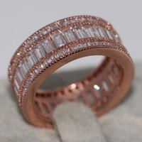 Wedding Rings Size 5-11 Choucong Handmade Luxury Jewelry 10KT Rose Gold Filled Princess Cut Top Sell White 5A CZ Women Band Ring Gift