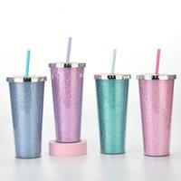 24 once glitter dritto grande capacità grande strato plastica tazza di paglia a mano a mano tazze di caramelle colore moda bambini tazza di acqua tazza sippy tazze H380WLJ