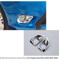 Tête de carrosserie de voiture chaude arbre frontal brouillard lumineux cadre de bâtonnet style ABS chrome couverture garniture 2pcs pour TOYOTA VIOS / YARIS / BEDAN 2014 2015 2015
