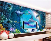 Wallpapers Custom Ceiling Wallpaper 3d Murals Dolphin Fish Underwater World Background Wall HD TV Papers