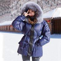 Mulheres para baixo parkas fitaylor inverno real pele natural jaqueta com capuz mulheres 90% branco pato casaco parkers solto quente neve outwear ajustável wa