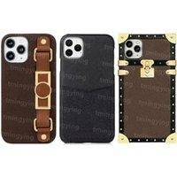 Top Cuir Designer Cas de téléphone pour iPhone 12 Pro Max Mini 11 XS XR x 8 7 Plus bracelet de mode Imprimer la couverture arrière de la couverture de la carte de carte de shell mobile de luxe avec boîte