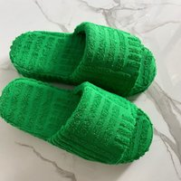 Towel Coth Home Shoes Personality Green Women Slippers Breathable Comfortable Casual Slipper for Lady