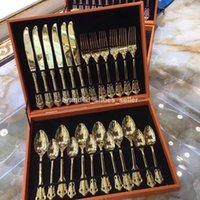 Золотая посуда набор 304 нержавеющая сталь набор столовых посудов нож вилка ложка ужина