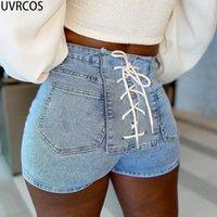 Damen Shorts uvrcos Sommerkleidung für Frauen Kurz Femme 2021 Design Casual Back Lace Up Verband Tasche Slim Hipster Fashion Denim