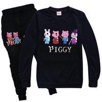 Clothing Sets Robloxing Piggy Cartoon Toddler Boy Autumn Clothes O-neck Set Long Sleeve Kids T-shirt Pants Children Girls Sweatshirt Suit
