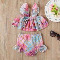 One-Pieces TELOTUNY Swimwear Summer Kids Baby Girl Sleeveless Cartoon Ruffles Fish Scales Print Separate Swimsuit Bikini Outfits