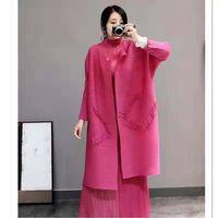 Women's Jackets Autumn Women Pleated Fashion Tidal Loose Big Size Pockets Long Jacket Coat