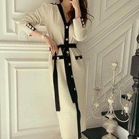 Günlük Elbiseler Kontrast Renk Moda Örme İnce Maxi Fransız Vintage Hırka Uzun Kollu Strappy Elbise Vestidos De Mujer 2021