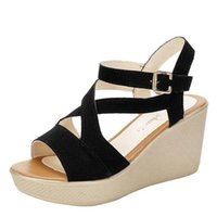 Sandals High-heeled Wedge-heeled Women's Summer Fashion Thick-soled Womens Shoes Casual Large Size Buckle Platform Women